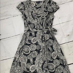 Tommy Hilfiger B/W Floral Wrap Dress